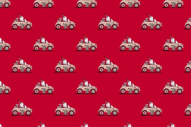 赤い背景に車でたくさんのサンタクロースのおもちゃ。クリスマスバナー