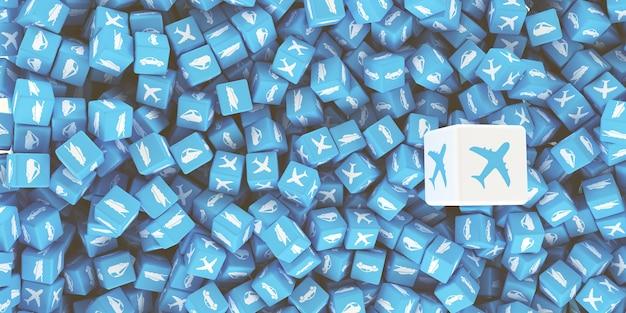 Множество разбросанных кубиков с логотипами разных видов транспорта. 3d иллюстрация