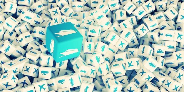 다양한 유형의 운송 로고가 있는 많은 흩어져 있는 큐브. 3d 그림