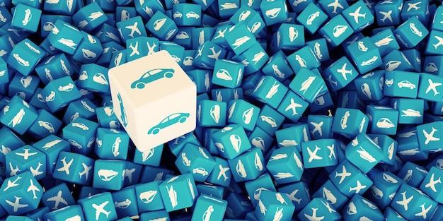 다양한 유형의 전송 배경의 로고가있는 많은 흩어져있는 큐브