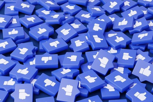 Много речевых пузырей с лайками руками на синем фоне.