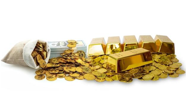 Много складывания золотого слитка и золотой монеты