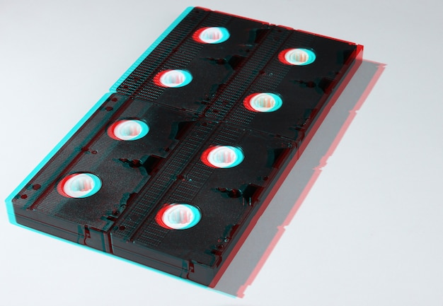 흰색에 많은 비디오 테이프. 레트로 스타일