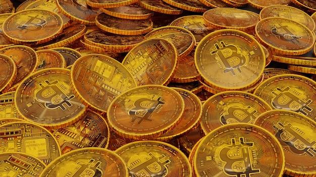 Много стек золотого фона биткойнов. 3d визуализация
