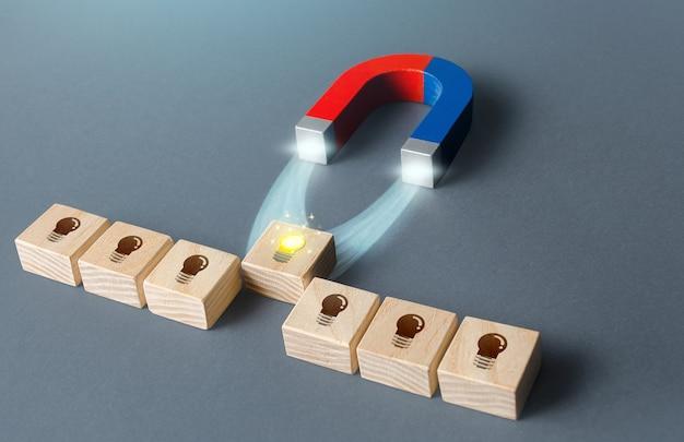 磁石が光るアイデア電球を引き付ける提示されたアイデアから最良のアイデアを選択するというコンセプト