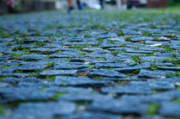 Великолепная фотография настоящей гранитной брусчатки с зеленой травой между булыжниками.