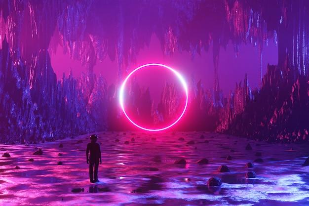 우주 비행사 한 남자가 외계 행성의 표면에 서서 네온 원을 봅니다. 3d 렌더링.