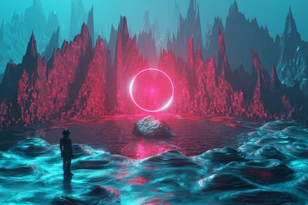 宇宙飛行士の男が宇宙人の惑星の表面に立ち、ネオンの輪を見る