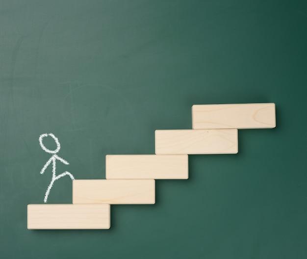 Человек, нарисованный белым мелом, поднимается по деревянным ступеням на фоне зеленой доски. концепция карьерного роста, достижение целей, открытие бизнеса