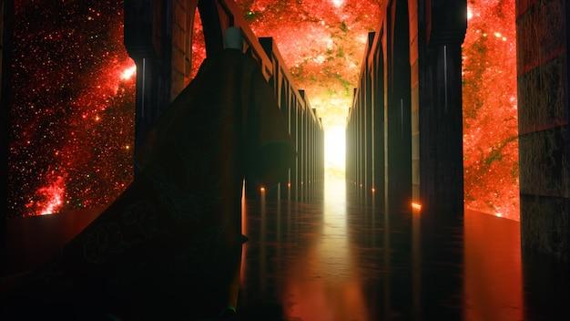 Человек, одетый в ткань, идет по коридору космической науки с неоновым освещением. пусть на планете земля. фантастическая концепция будущего. концепция познания космоса человеком. 3d анимация