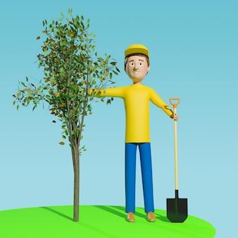 한 남자가 땅에 심을 나무를 들고 있습니다. 삽화.