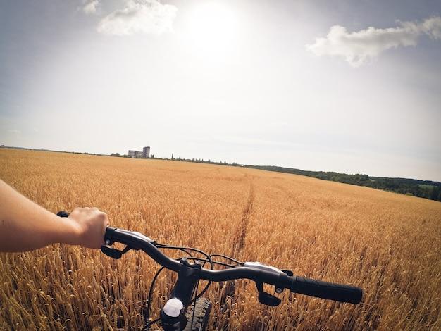 暑い夏の晴れた日に、男が片手で麦畑に立って車輪を持っています。アクションカメラゴープロ