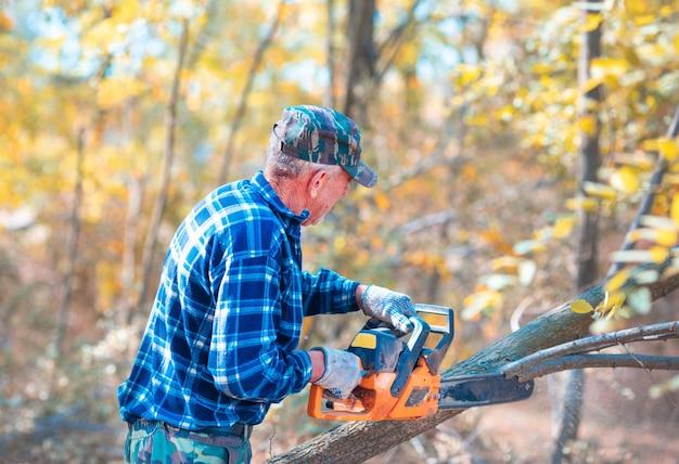 青い野球帽をかぶった男がチェーンソーで木を見ている