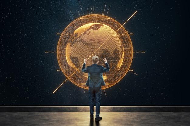 ビジネススーツを着た男、ビジネスマンは地球の背景に立っています