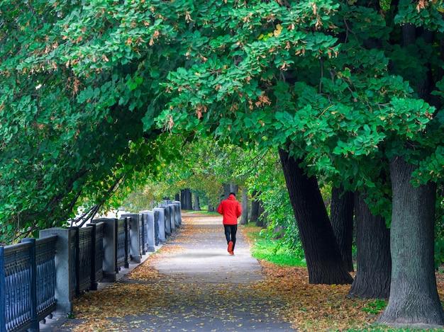 赤いスポーツウインドブレーカーの男が早朝に人けのない通りを駆け下ります。