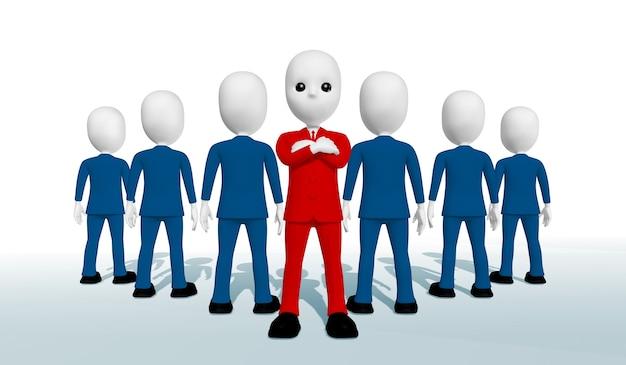 빨간 양복을 입은 남자가 팔짱을 끼고 서 있다 파란 양복을 입은 6명의 남자가 등을 대고 서 있다