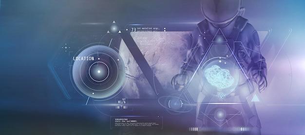 宇宙服を着た男性が、未来的なグラフの 3 d レンダリングからのデータを研究する