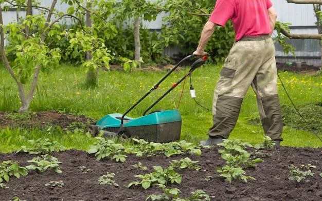 한 남자가 정원에서 전기 잔디 깎는 기계로 잔디를 깎고 있습니다. 전선이 보입니다.