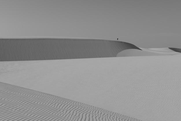 Мужчина наблюдает за ослепительным национальным парком lencois maranhenses с вершины дюн