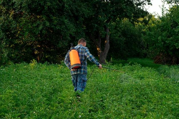 한 남자가 정원에 있는 해충으로부터 식물을 뿌립니다.