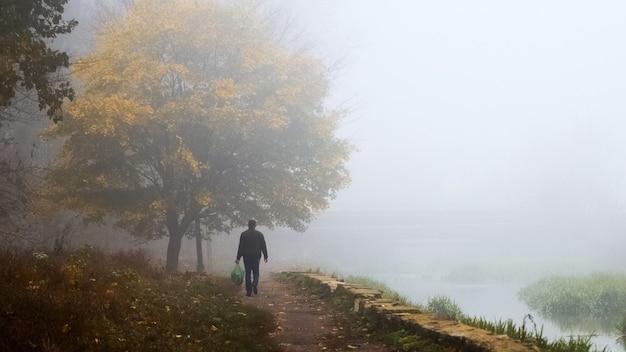 霧のかかった朝、湖畔の秋の公園を男が歩く