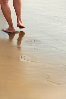男は海の濡れた砂浜を歩く