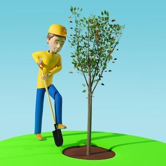 삽을 든 남자가 나무를 심고 있습니다. 녹화 및 생태 개념입니다. 원예, 농업. 3d 그림입니다.