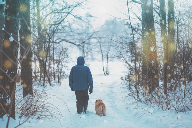 Мужчина с прогулкой в зимнем лесу по заснеженной дороге