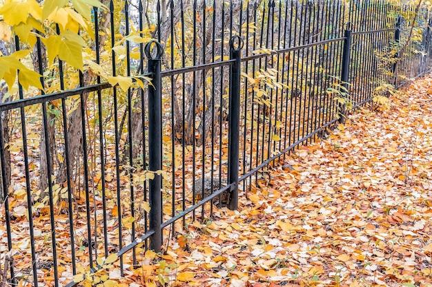 금속 울타리가 버려진 공원의 영역을 보호합니다. 10월의 흐린 날