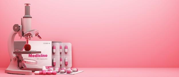 ピンクの背景の3dレンダリングでワクチンや薬と一緒にcovid-19ウイルスを見る顕微鏡