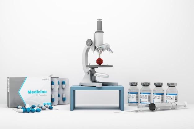 白い背景の3dレンダリングでワクチンや薬と一緒にcovid-19ウイルスを見ている顕微鏡