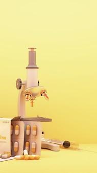 黄色の背景の3dレンダリングでワクチンや薬と一緒にcovid-19ウイルスを見ている顕微鏡