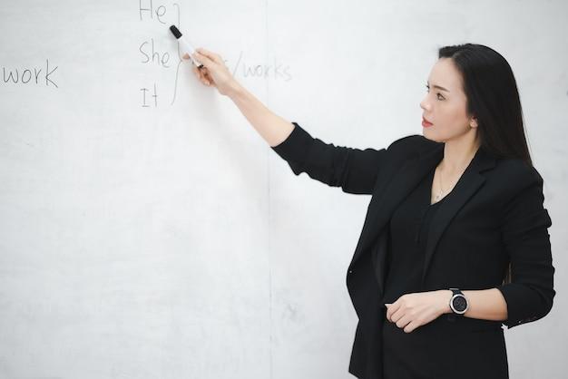 Азиатская женщина-учительница средних лет у классной доски в университете