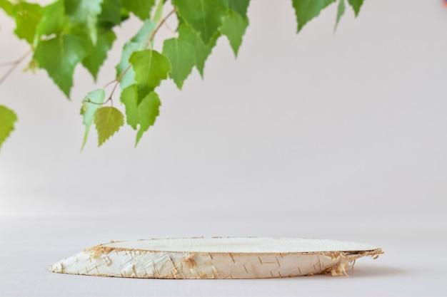 누워있는 자작나무와 녹색 나뭇가지가 있는 미니멀한 장면. 제품 및 화장품 프레젠테이션을 위한 패션쇼. 천연 제품을 위한 무대가 있는 쇼케이스. 에코 브랜딩.