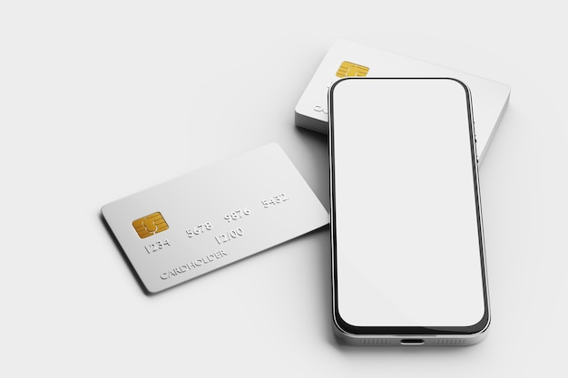 ミッドレンジカードの山に白い画面が表示されたスマートフォンのモックアップ。電子決済。 3dレンダリング