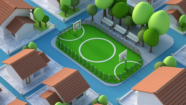 3d визуализация модели спортивного поля с футбольным полем