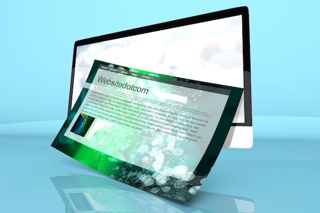 画面から出てくる一般的なウェブサイトを備えた最新のオールインワンコンピューター。