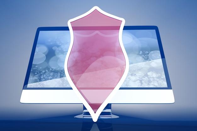 Современный защищенный и экранированный компьютер «все в одном». 3d иллюстрации.