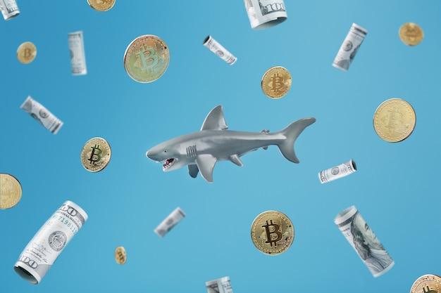 ドルとビットコインに囲まれた中央のお金のサメ