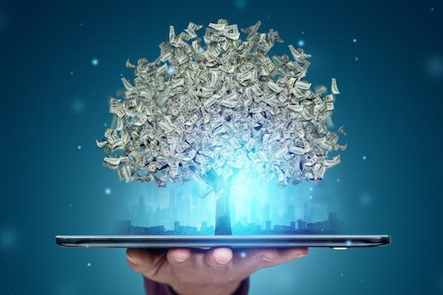 葉の代わりにドルのある金のなる木がスマートフォンから成長し、オンラインで作業する