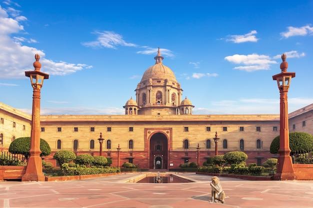 インドのニューデリーにある大統領官邸、ラシュトラパティバワンの近くにいるサル。