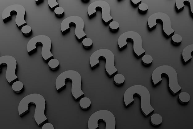 暗い背景に繰り返しパターンの形で多数の疑問符。 3dレンダリング。