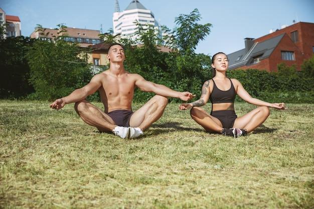 공원에서 운동을하는 근육 운동 선수. 체조, 훈련, 피트니스 운동 유연성.
