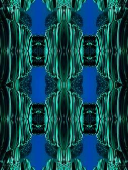 천연 미네랄 질감의 선과 반점으로 형성된 신장염 만화경 패턴입니다. 녹색과 검은색 광물 조각의 놀라운 자연 패턴과 질감. 반복 이미지 효과입니다. 세로 이미지.