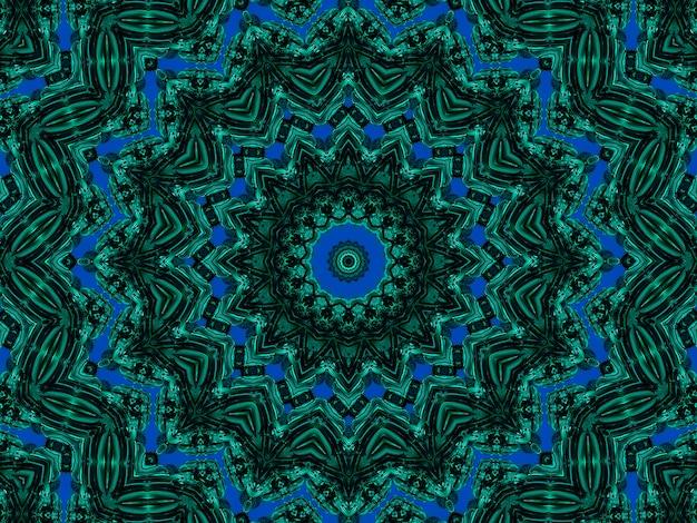 천연 미네랄 질감의 선과 반점으로 형성된 신장염 만화경 패턴입니다. 녹색과 검은색 광물 조각의 놀라운 자연 패턴과 질감. 반복 이미지 효과.