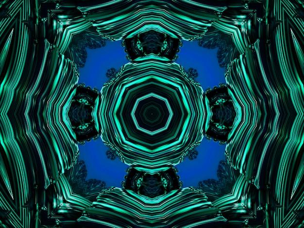 천연 미네랄 질감의 선과 반점으로 형성된 신장염 만화경 패턴입니다. 녹색과 검은색 광물 조각의 놀라운 자연 패턴과 질감. 반복 이미지 효과입니다.