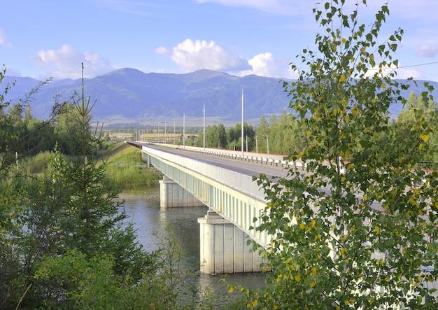 Новый мост через реку катунь в горном алтае под голубым небом сибирь россия