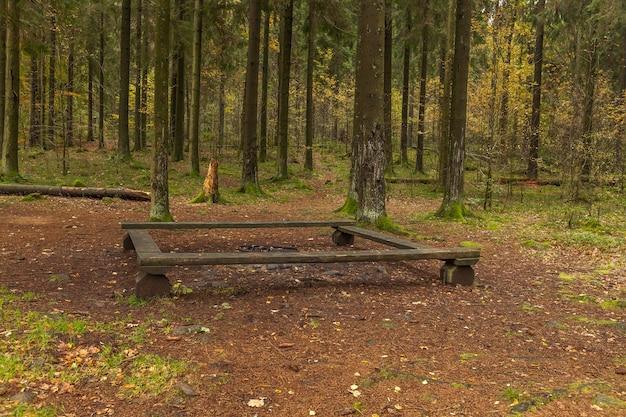10 월의 맑은 가을날 아침 산책 중 쉬기 좋은 벤치
