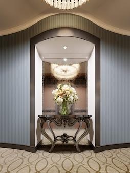 Ниша в стене коридора гостиницы с зеркалом и классической консолью с цветами и освещением. 3d-рендеринг.