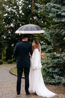 傘をさした花嫁のペア